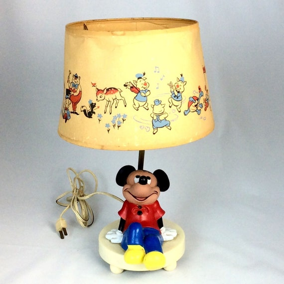 Vintage 1980s mickey mouse lamp and shade aloadofball Choice Image