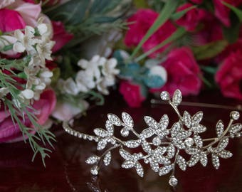 Crystal rhinestone silver bridal headband, Bridal Hair Accessory - wedding accessories