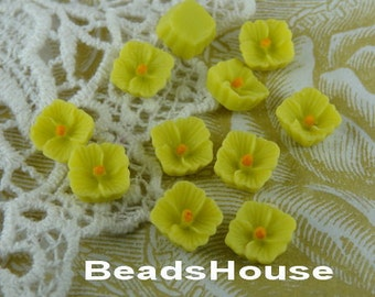 663-02-Bg-Ca  10pcs Petite Lilac Cabochon,Lemon / Orange Centre