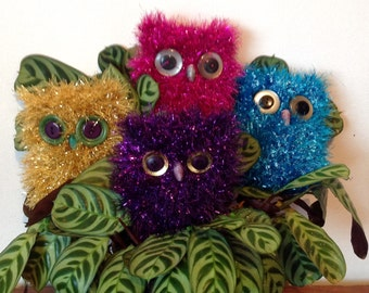 Soft Owl Ornament. Sparkly Owl. Knitted Tinsel Owl.