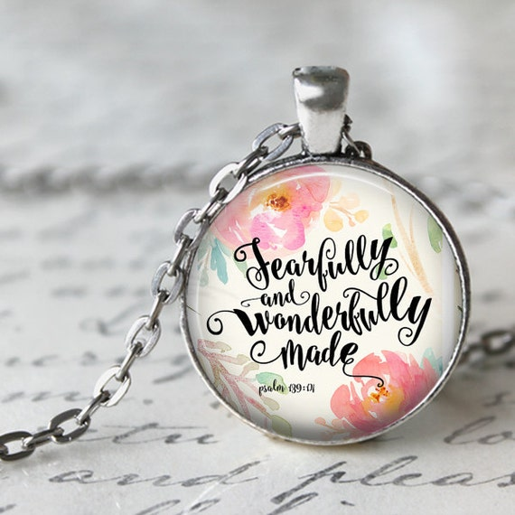 Psalm 139 Scripture Pendant - Catholic Jewelry Gifts - Fearfully and Wonderfully Made Psalm 139