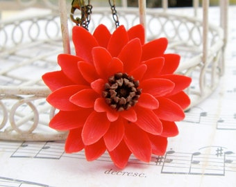 Dahlia Necklace in Red  - Large resin flower necklace - Secret Garden Collection