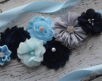 Flower Sash, light blue  grey dark navy Sash #3,, flower Belt, maternity sash