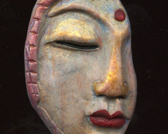 Polymer  One of a kind  profifle  Textured  Buddha  Face Cab ABBD 1