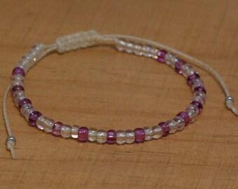 Friendship Bracelet, Boho Bracelet, Seed Bead Friendship Bracelet, Adjustable Cord Bracelet, Ivory Bracelet, Magenta Bead Bracelet