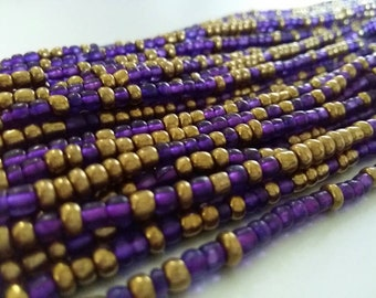 "African WAISTBEADS -- ROYALS II -- Purple & Gold -- 45""   : Seed Beads, Glass beads, African Beads, Toma Beads"