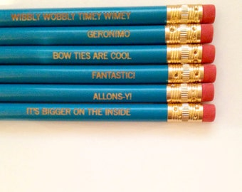 whovian engraved pencil set of six in aqua. gifts for coworkers, back to school. allons-y