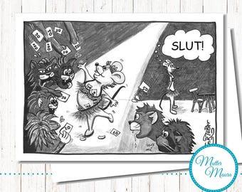 """Postcard """"Jealous"""", cartoon, Cat, mouse"""