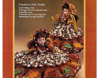 Autumn Leaves Pillow Doll, Music Box Doll, or Bed Doll Crochet Pattern Fibre Craft FCM198