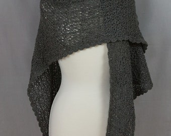 Hand knit Lace shawl Triangular Dark Silver Grey Alpaca Very soft OOAK Crocheted lace edge