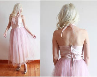 "1950s dress | pastel pink 50s dress | bombshell cupcake fairy dress | size s bust 34"" waist 26"""