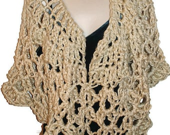 Crochet Capelet, Bridal Capelet, Bridesmaid Poncho, Bridal Shawl, Shoulder Shawl, Womens Shawl, Mothers Day, Womens Capelet, Tan Poncho