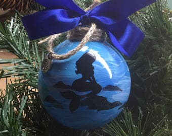 Personalized Mermaid Ornament - Hand Painted Acrylic Mermaid Ornament - Mermaid Christmas Ornament