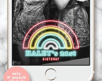 Rainbow Filter, Snapchat Filter Birthday, Snapchat Filter 21st, Rainbow Party, Snap chat Geofilter Party, 21st Birthday for her, Neon Filter