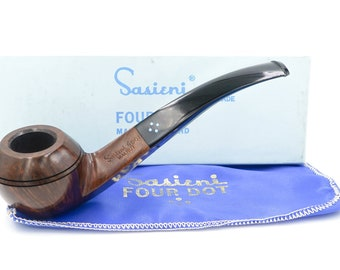 New Old Stock UNSMOKED - Sasieni 4 Dot - Walnut - BEAUTIFUL! - SATXpipe