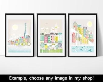 3 Kleine Kunstdrukken voor 30 Euro, Papier afdrukken, Stadsbeeld, illustratie, stadsgezicht, kunst voor huis, kunst voor thuis, kunstdruk