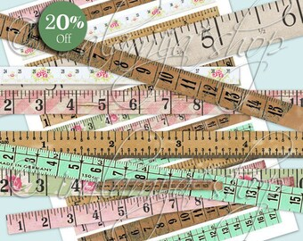 TAPE MEASURE Collage Digital Images -printable download file Scrapbook Printable Sheet