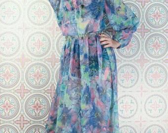 60's Sheer MAXI DRESS Blue Floral // Watercolour Print // Vibrant Gypsy // Size Medium