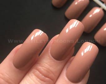Peach frappe Creme american curve long false nails set