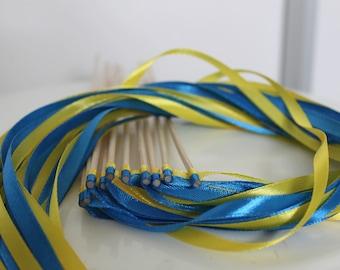 20 sticks guard of honor wedding blue and yellow ribbon