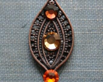 Fall Leaf Bindi - ATS, Tribal, Belly Dance, Firehead Jewelry, Third Eye, Orange, Copper