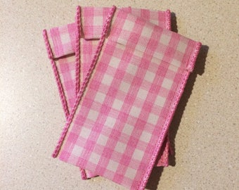 Jewelry Pouches - 10 Pink checkerboard  2 inches x 4 inches