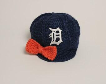 Crocheted Detroit Baseball Cap-Detroit Tigers Cap-Newsboy Cap-Tigers Baseball Cap