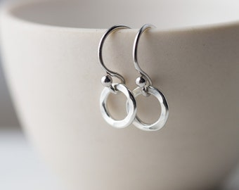 Tiny Circle Sterling Silver Earrings for Women | Minimalist Silver Dangle Earrings | Gift for Women | Handmade Jewelry Silver