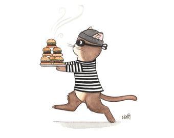 Katze Burgerlar - Illustration-Druck-Postkarte