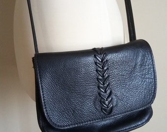 Black Leather Purse with a Long Strap. Flap Top, Magnet, Zipper Pouches. Lovely Supple Cowhide Unlined. Cross Body Shoulder Bag / Handbag