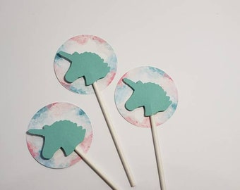 Unicorn cupcake toppers - set of 12