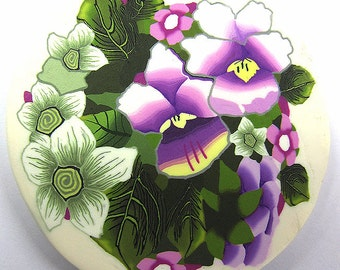 Polymer clay milefiore cane. Large flowers cane - Spring garden