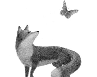 Fox with Butterfly - black and white print - fox illustration - fox art - 4x6 print