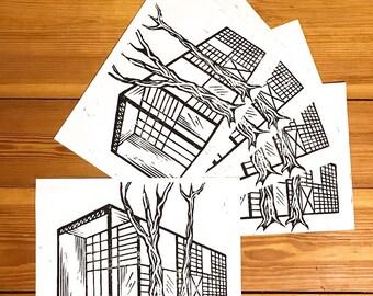 Handmade Case Study House no.8 by Charles & Ray Eames Linocut Linoprint Print A4