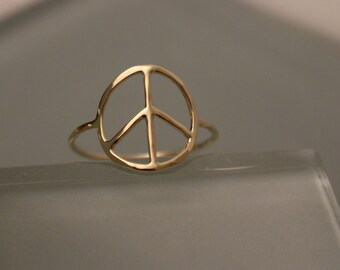Peace Ring, 14k Peace Ring, 14k Peace Sign Ring, 14k Peace Symbol Ring, 14k Thumb Ring, 14k Knuckle Ring, 14k gold peace ring, 14k gold ring