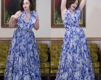"60s Floral Maxi Dress   70s Maxi Dress   70s Dress   1960s Dress   70s Blue Dress   Blue Maxi Dress   Boho Dress   Floral Maxi Dress   26"""