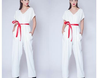 Jumpsuit - White Jumpsuit - Women's Jumpsuit - White Maxi Jumpsuit - Loose Jumpsuit - White Wedding Jumpsuit - Oversized jumpsuit