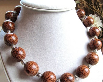 20mm Round Palmwood Bead Necklace with Pewter Spacers, 20 inch Length