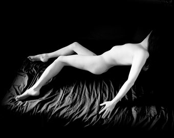 Naked art male artstic nude black and white photography fine ART print -Out of shadow 03 - Tension