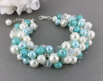 Aqua Pearl Bracelet Bridal Bracelet Aqua Bracelet Blue Ivory Bracelet Cluster Bracelet Bridesmaid Bracelet Wedding Bracelet Chunky