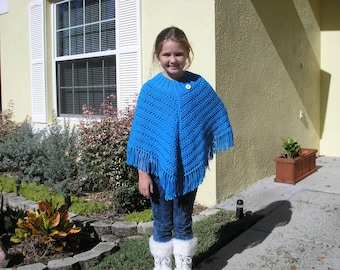 Knitted Poncho, Girls Large - Bright Blue