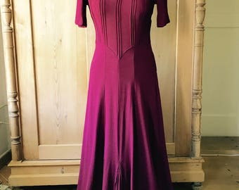 Gorgeous 1940s burgundy dress, rayon crepe, medium,