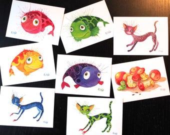 Postcards set fish, art postcard, Aquarel, 8 postcard set