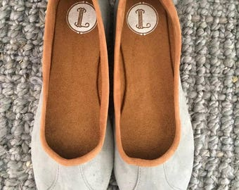 ISLANDER- Ballet Flats -Suede Shoes-Grey suede. 39 Available in other sizes see below