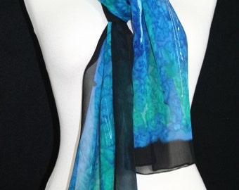 Blue Silk Scarf. Turquoise Hand Painted Silk Shawl. Teal Black Handmade Silk Scarf CARIBBEAN BREEZES. Size 8x54. Birthday, Bridesmaid Gift.