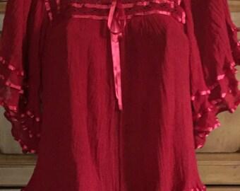 Red black Ribbon Mexican Blouse Top Boho small medium large xlarge