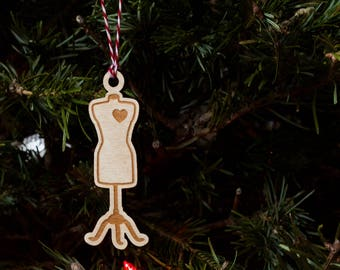 Sewing Ornament - Wooden Dressform Ornament for a Seamstress's Christmas Tree