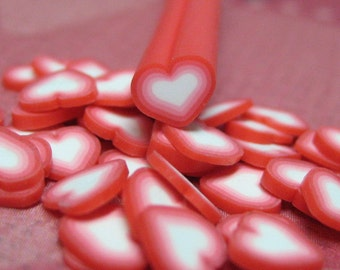 polymer clay cane heart red uncut 1pc for decoden crafts nail art and miniature food decoration valentine