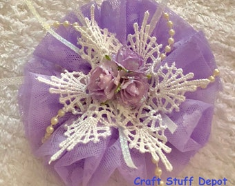Handmade Flower, Shabby Chic, Lace Rosette, Mixed Media Embellishment, Package Topper, Head Band, Brooch, Trim, Book Cover, Purple