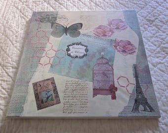 Vintage Style canvas, mixed media (collage, acrylic paints, stamps...).